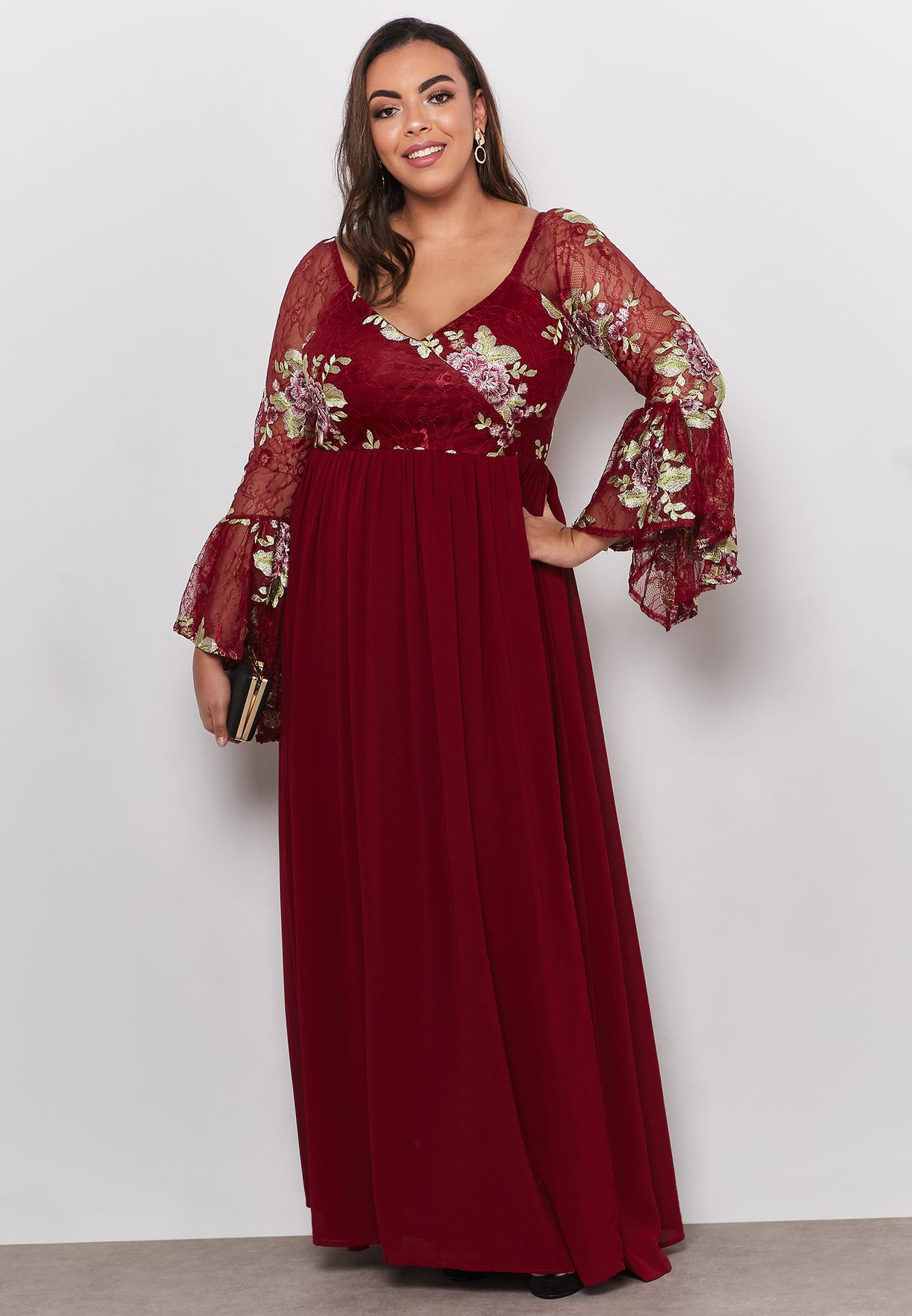 Lace Detail Long Sleeve Maxi Dress