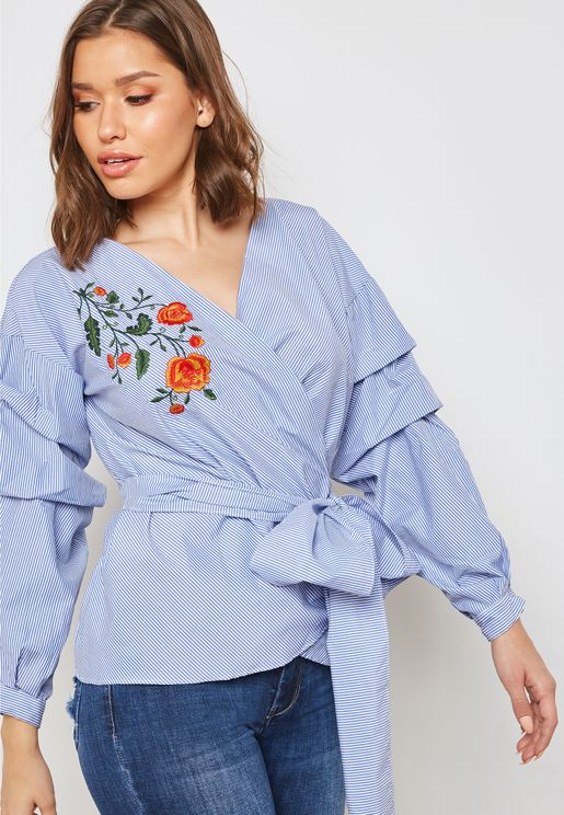 Striped Embroidered Wrap Front Puffed Sleeve Top
