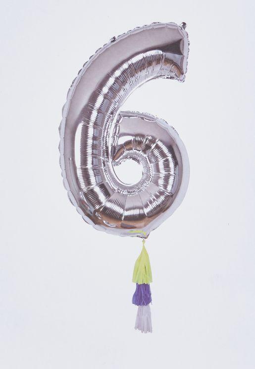 """بالون لامع يحمل رقم """"6"""""""
