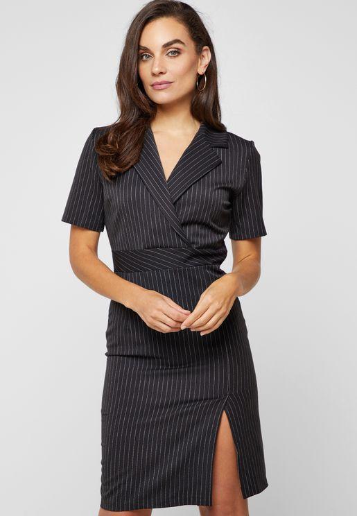 Pinstripe Blazer Dress