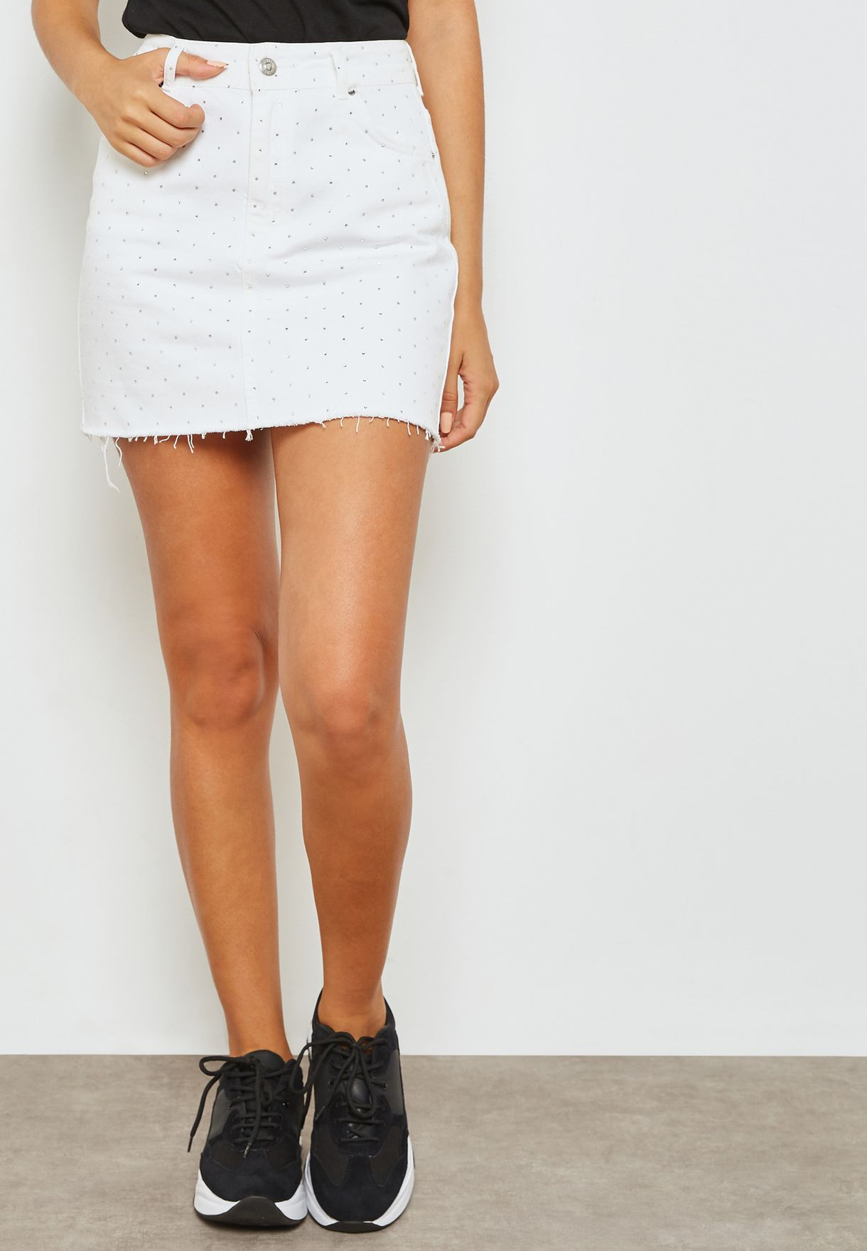 b7edd5d2a7 Shop Topshop white MOTO Denim Mini Skirt 05R49NWHT for Women in UAE ...
