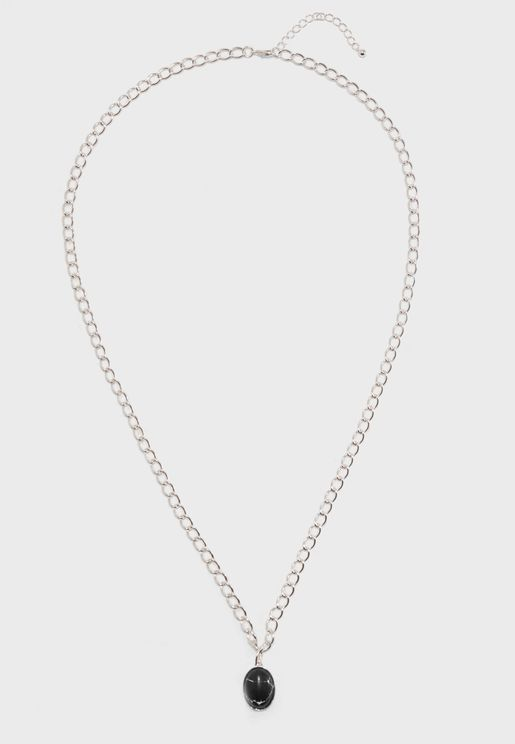 Aqua Stone Pendant Necklace