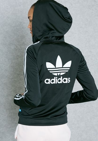 a8eca31a8 durable modeling Shop Adidas originals black Slim Full Zip Hoodie AY8128  for Women in UAE