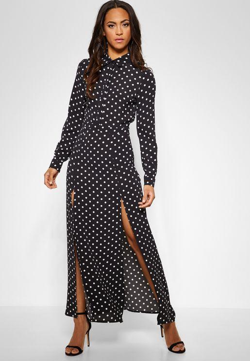 Polka Dot Front Split Maxi Dress