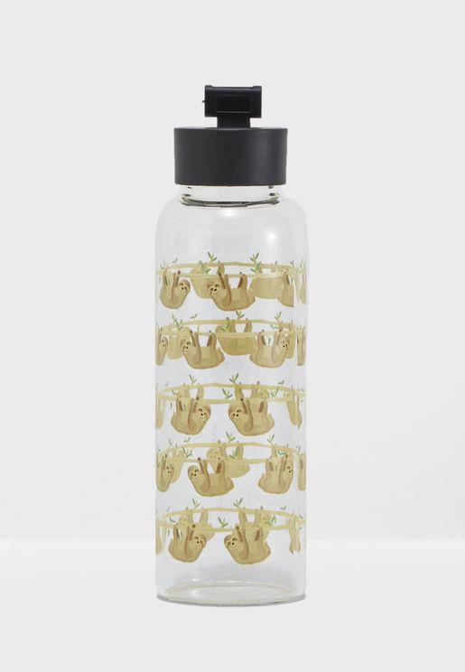 Lazy Sloths Print Glass Water Bottle 400ml