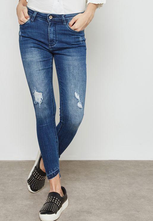 Raw Hem Ripped Skinny Jeans