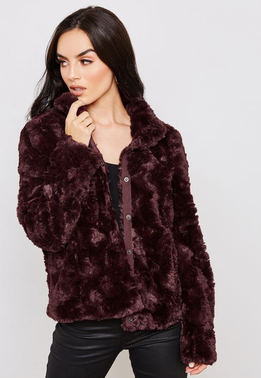 High Neck Faux Fur Jacket