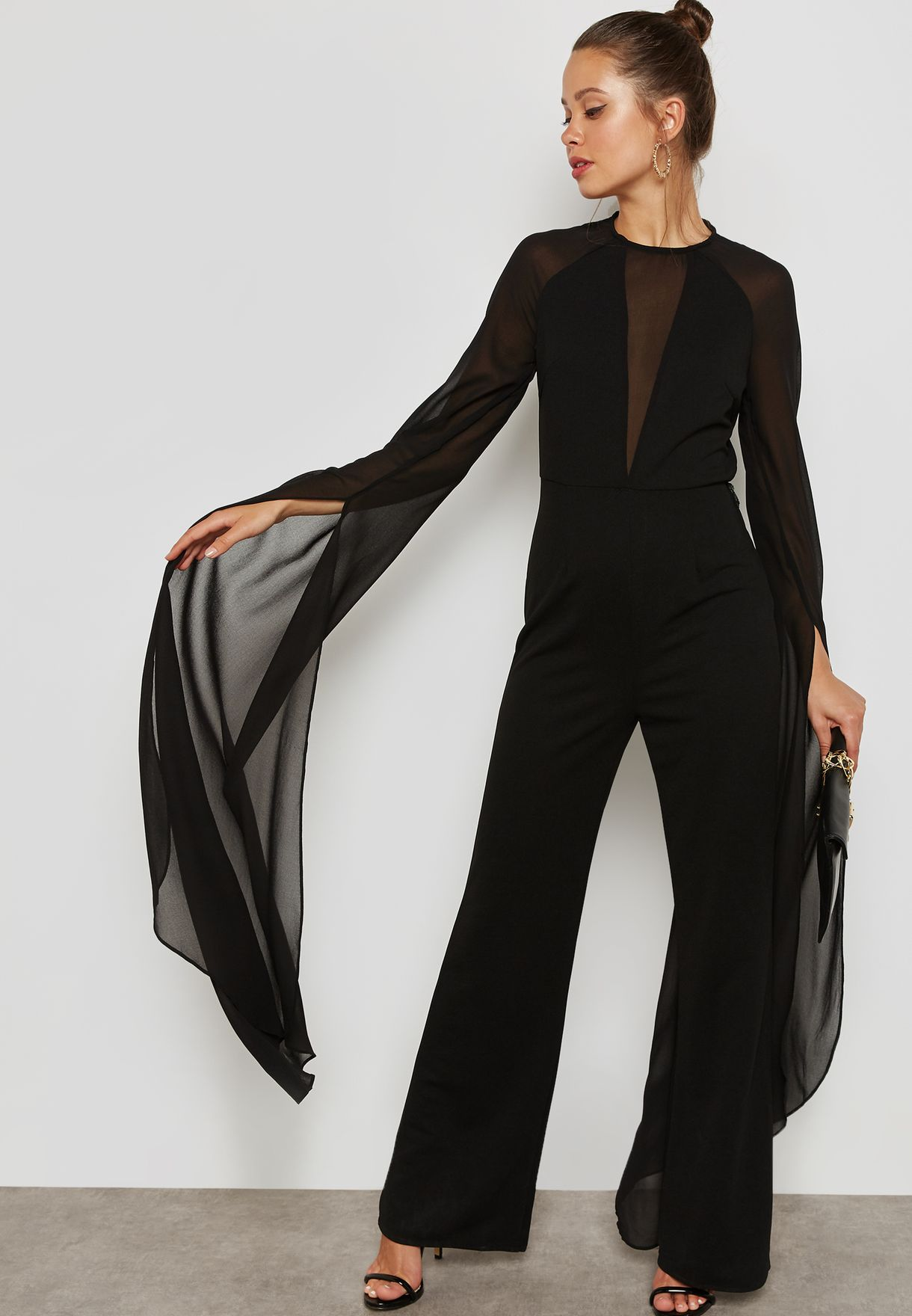 9dcdb9c9cce Shop Missguided black Wide Leg Long Sleeve Jumpsuit WXM9903171 for Women in  Oman - MI669AT96TDN
