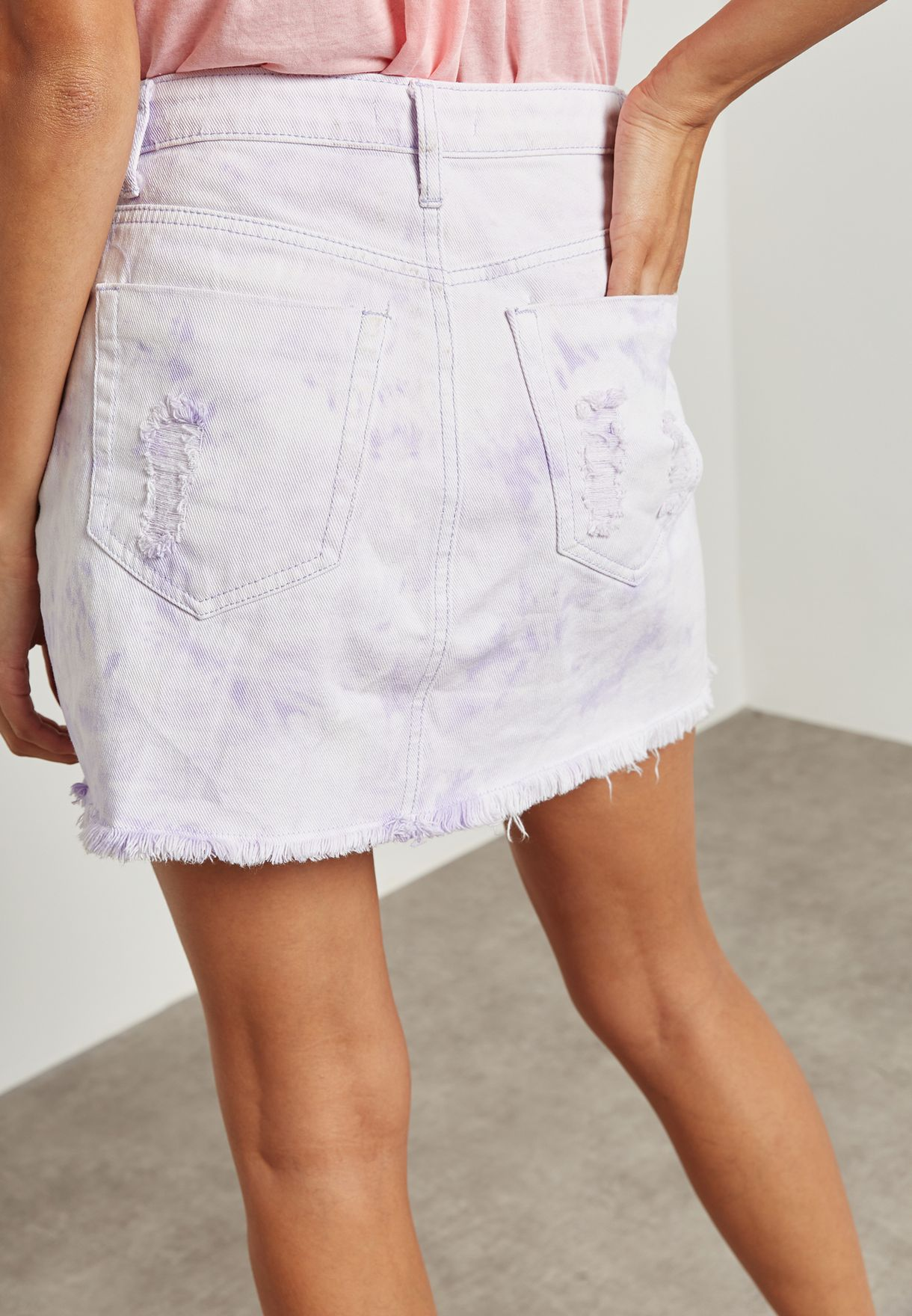 Ripped Detail Skirt