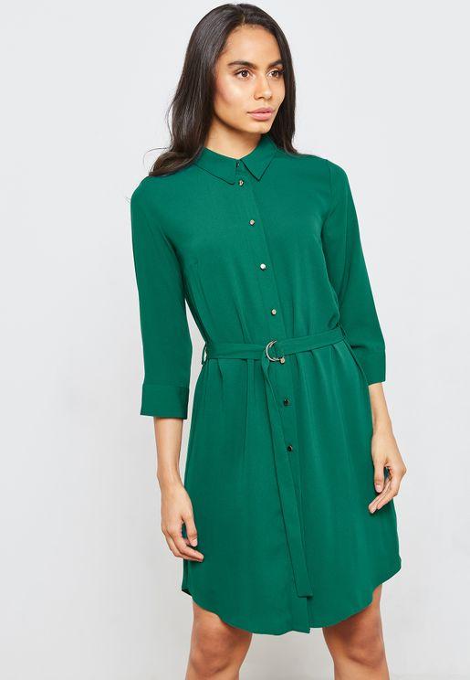 Belted Button Down Shirt Dress