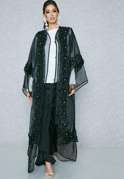 Lace Embellished Organza Abaya
