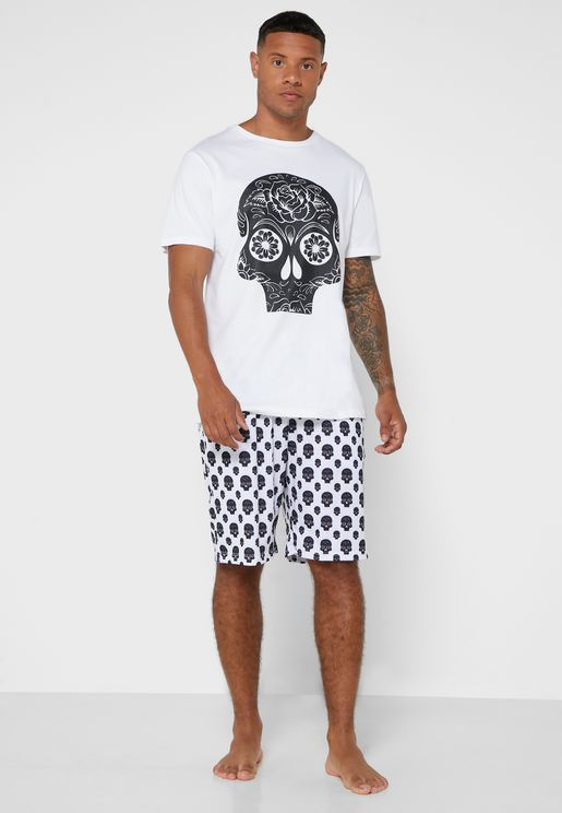 Skull Printed Shorts and T-Shirt Set
