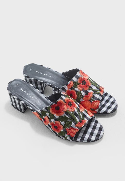 Floral Embroidery With Gingham Pattern Mules