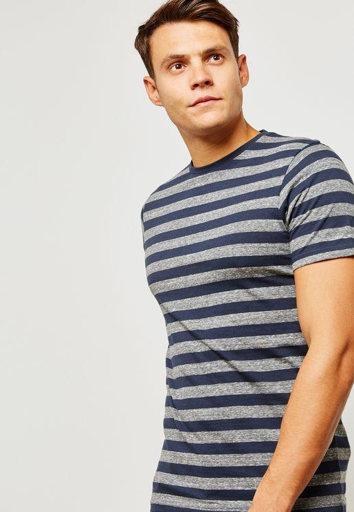 Rock  Striped Crew Neck T-Shirt