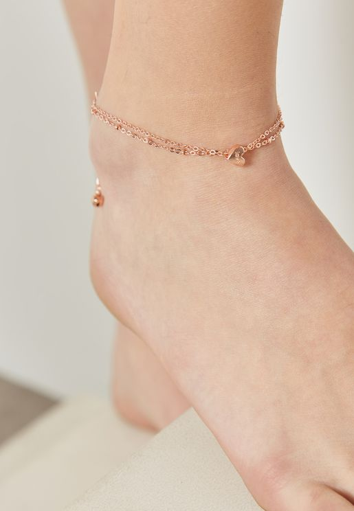 Heart Pendant Layered Anklet