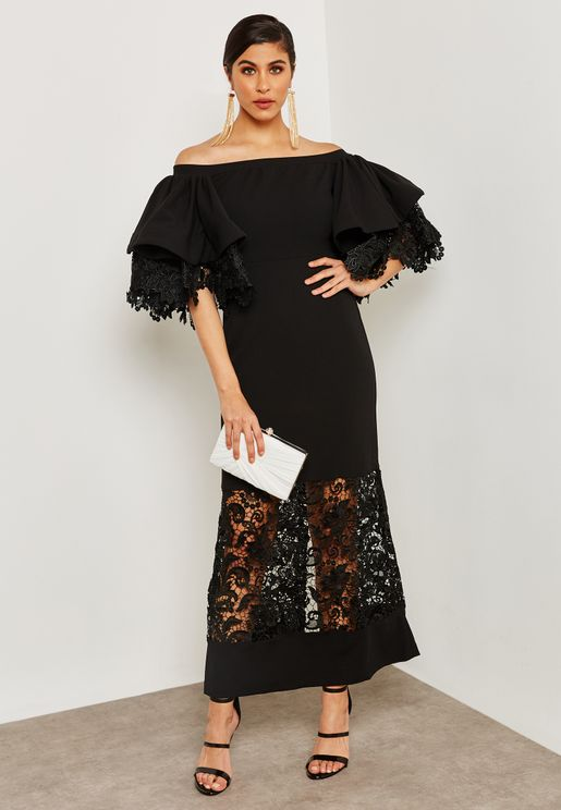 Ruffle Sleeve Lace Illusion Dress