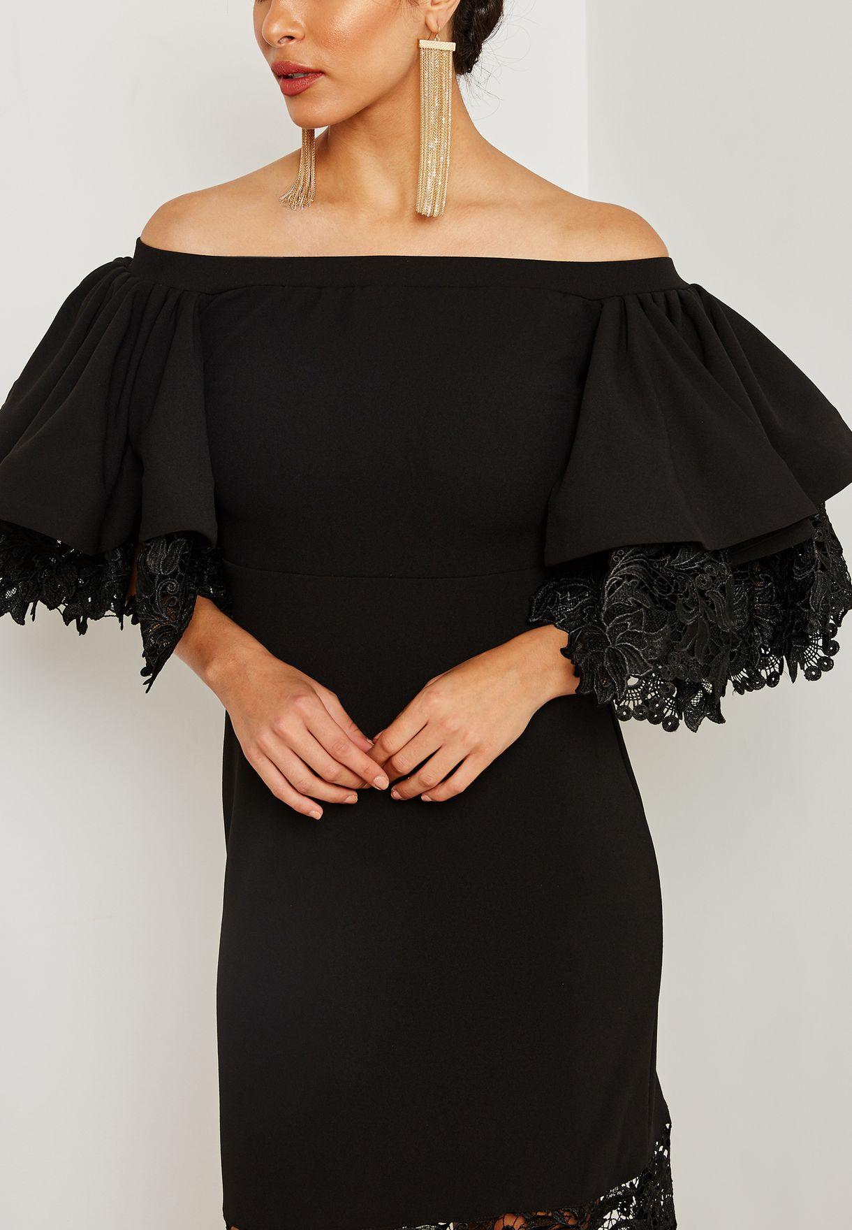 Ruffle Sleeve Lace Illusion Dress