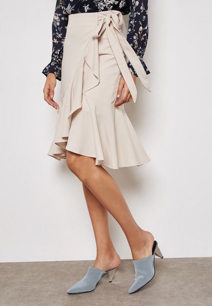 Wrap Front Ruffle Tie Skirt