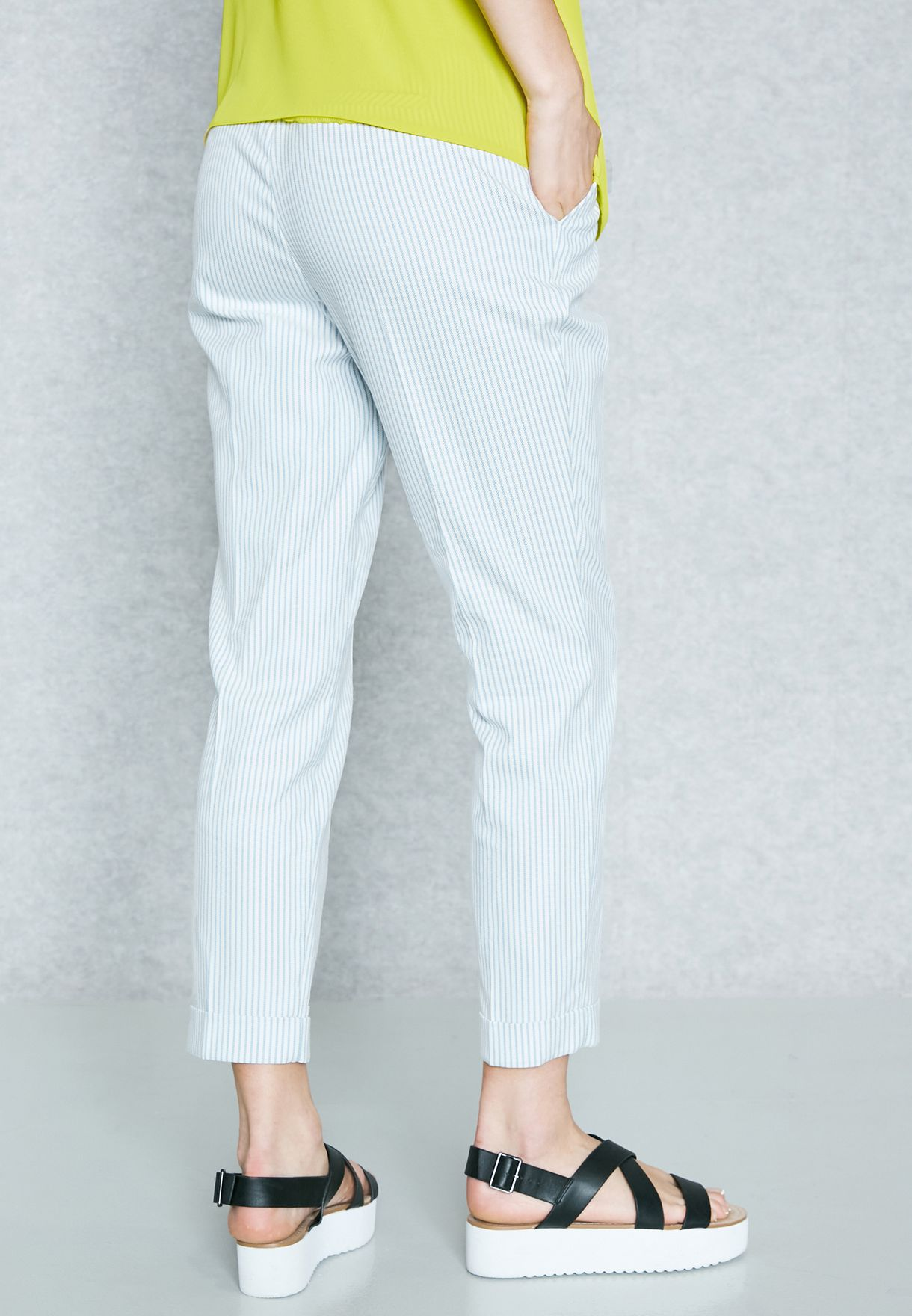 Striped Ankle Grazer Pants
