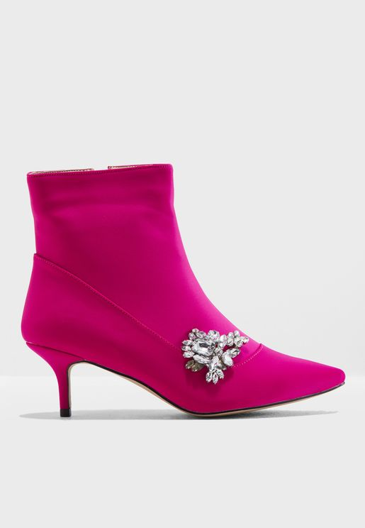 Gaze Silver Brooch Low Heel Ankle Boot