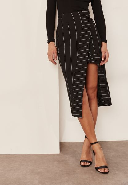 Asymmetric Striped Wrap Skirt