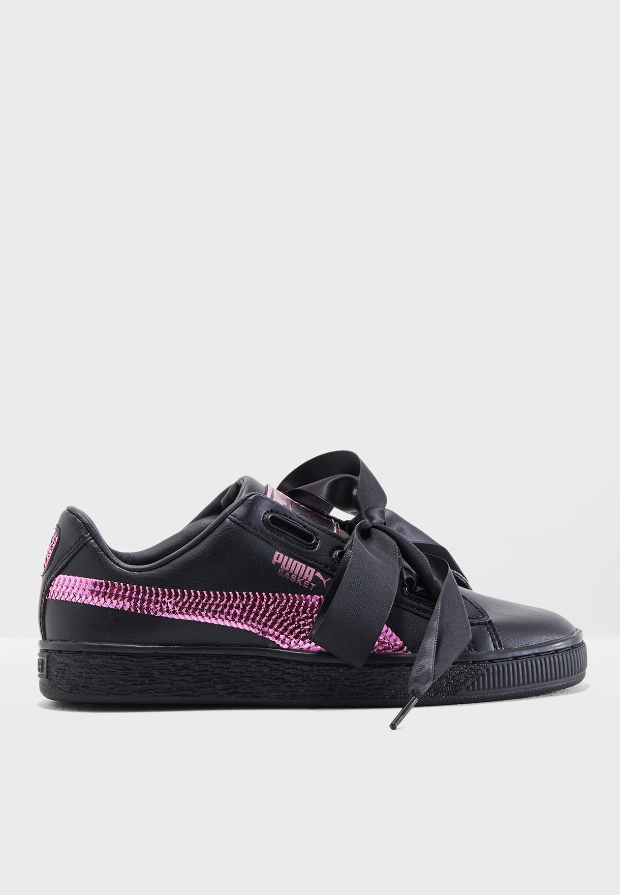 14e33c09159104 Shop PUMA black Youth Basket Heart Bling 36684701 for Kids in Kuwait -  PU020SH96EZB