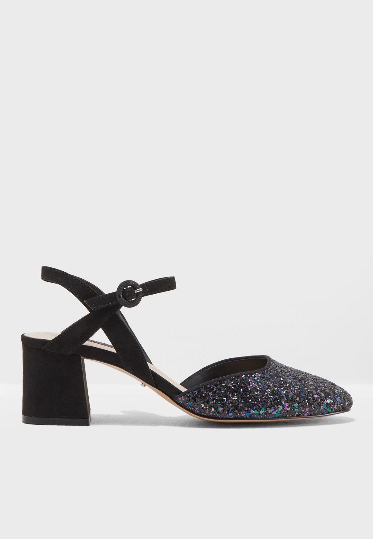 f89722d0239 Glitter Box Heel Sandal
