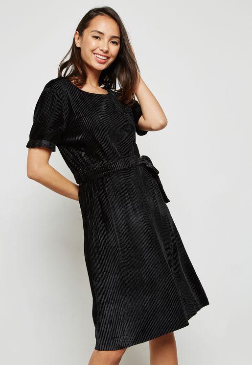 CRINKLED VELVET DRESS