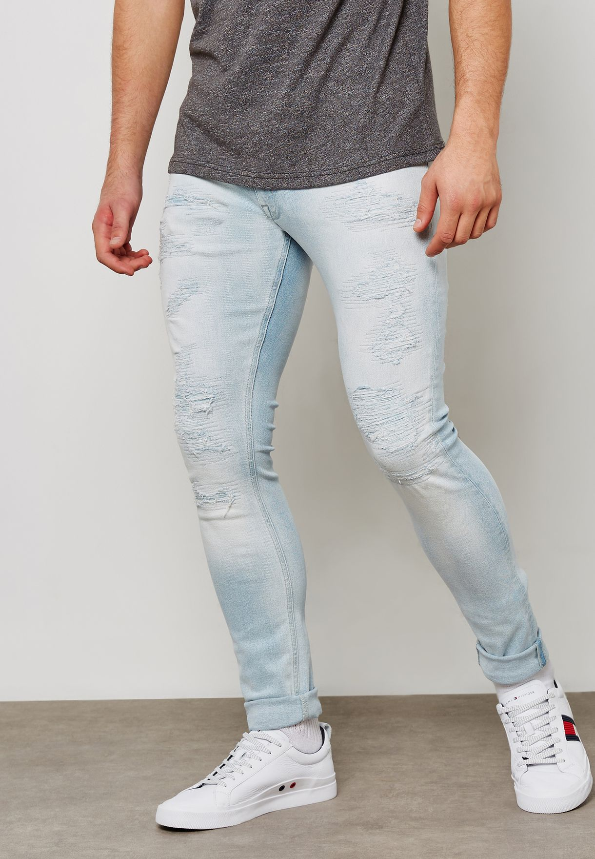 34fba3be Shop Tommy Hilfiger blue Lewis Hamilton Distressed Jean ...