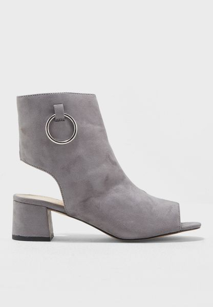 Space Open Back Peep Toe Ankle Boot