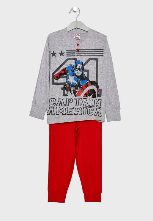 Little Captain America Pyjama Set