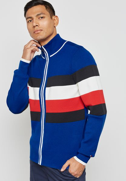 Tommy Hilfiger Zipped Through Striped Sweater