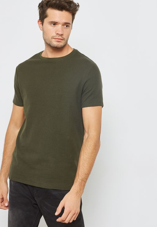 Waffle Textured Crew Neck T-Shirt