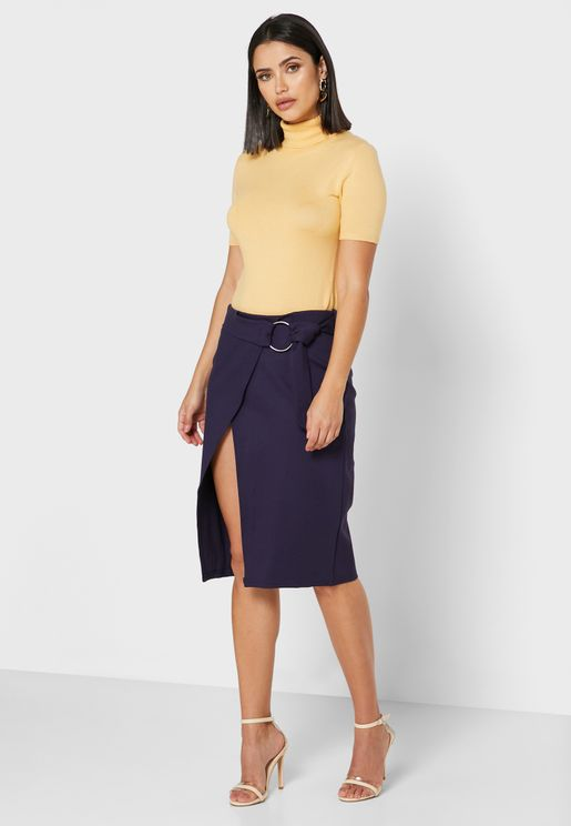Wrap Front Ring Buckle Midi Skirt