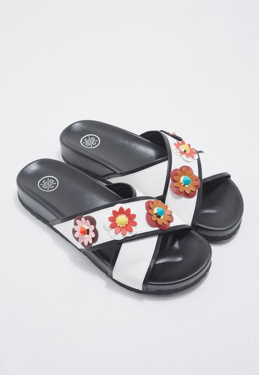 Cross Strap Floral Slides
