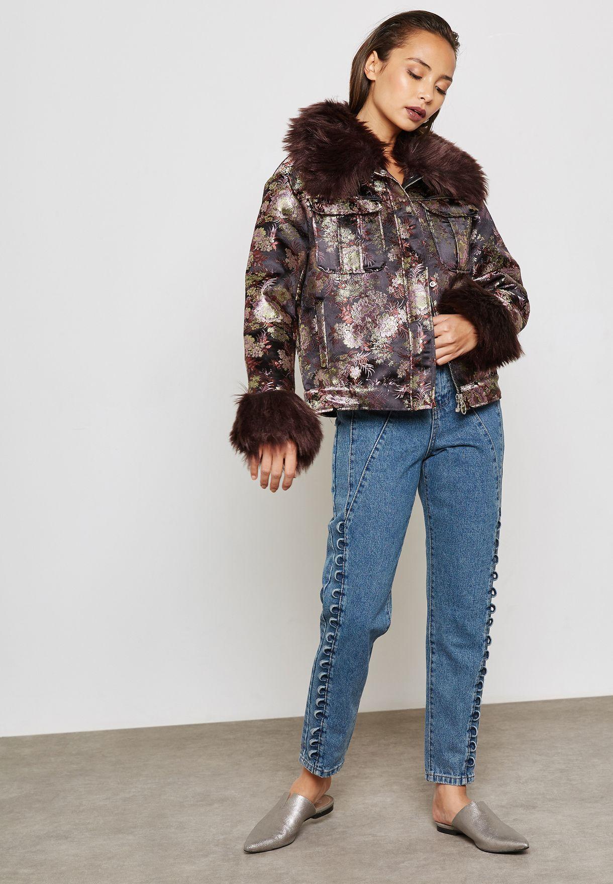 Jacquard Fur Detail Jacket