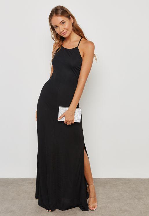 Sied Split Strappy Back Dress