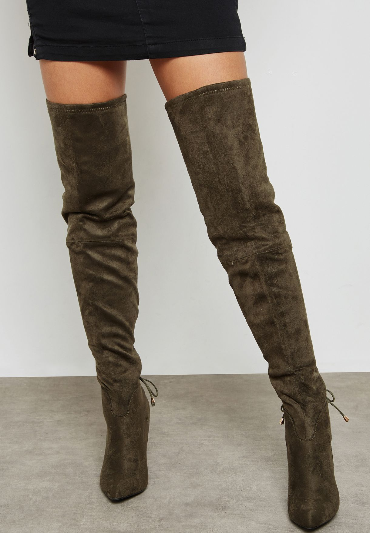 609d41749f9 Shop Truffle green High Heeled Knee Length Boots FAYE65 for Women in ...