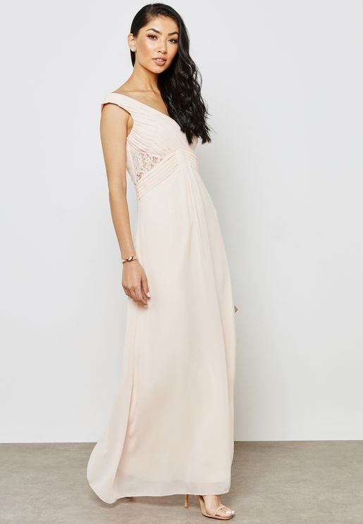 Drape Front Lace Dress
