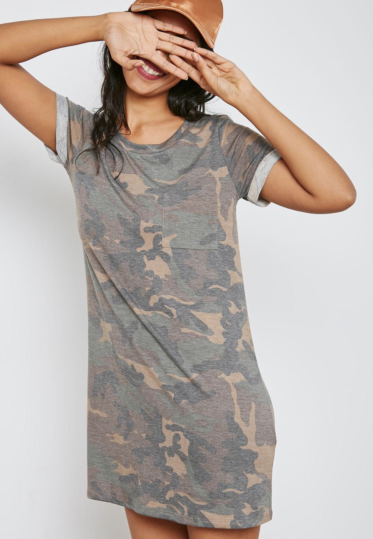 4c180b72445e Shop Forever 21 green Camo T-Shirt Dress 00149132 for Women in UAE ...