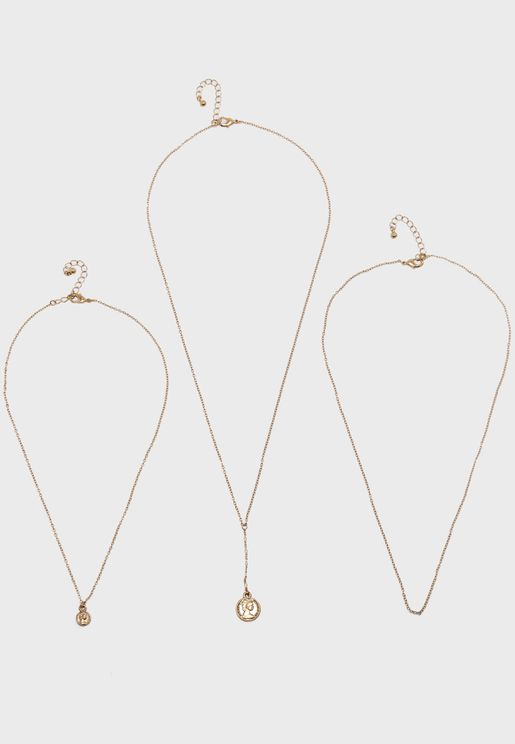 Coin Charm Necklace Set