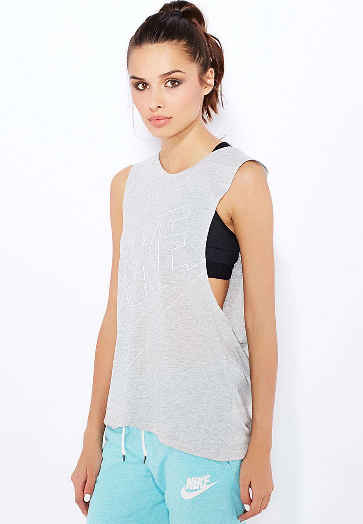 c50b55e69bbf0e Shop Nike grey Muscle Signal Tank Top 644712-050 for Women in UAE ...