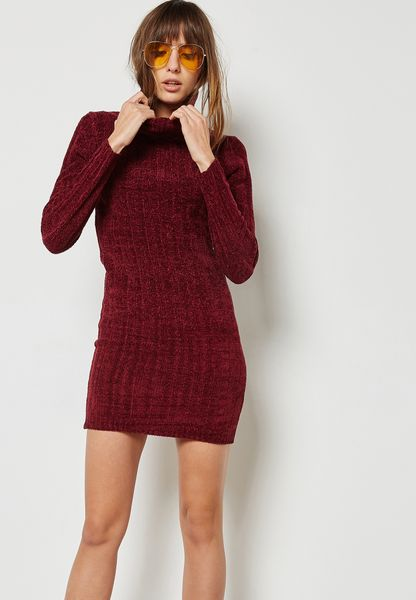 Ribbed Roll Neck Sweater Dress
