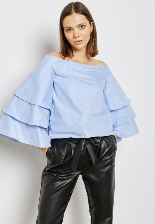 Layer Sleeve Bardot Top