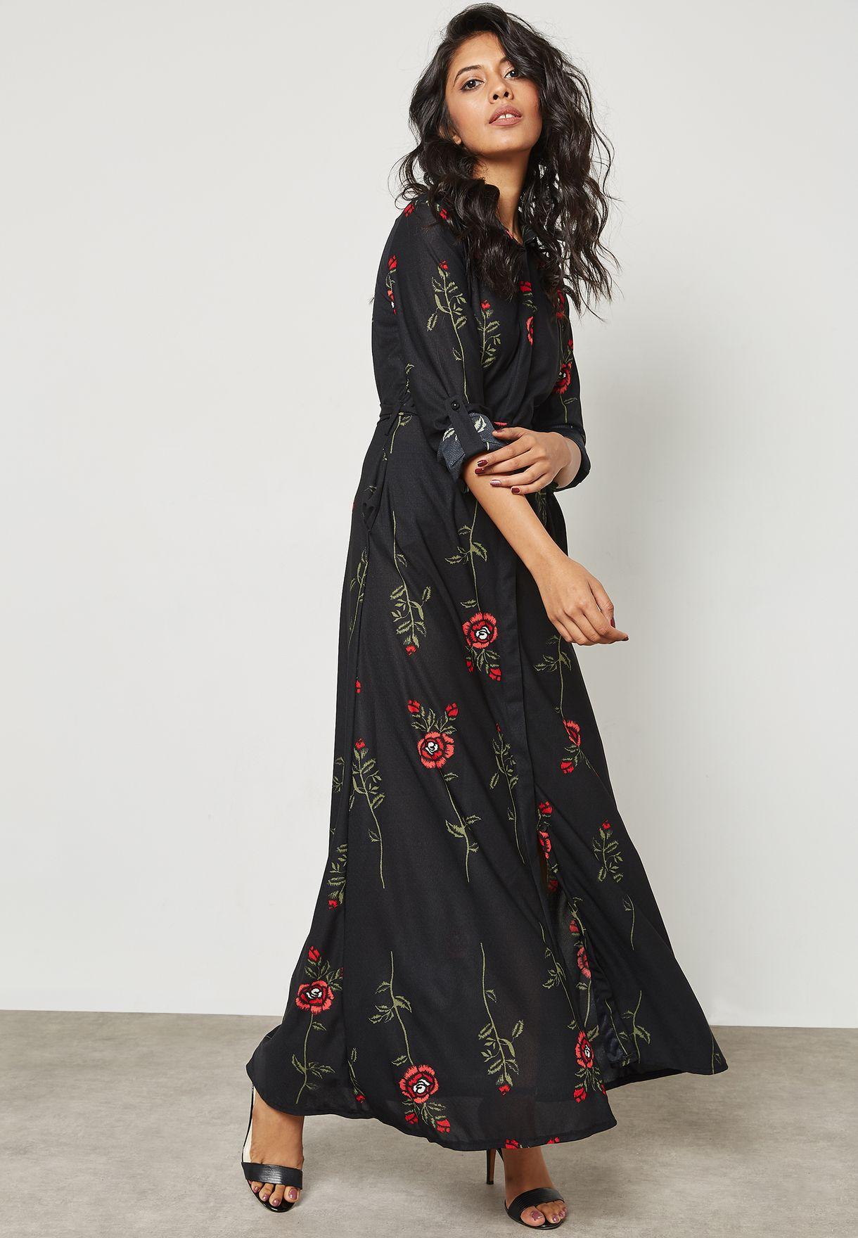 dfe3858d55 Shop Ella prints Floral Print Self Tie Shirt Maxi Dress 270732 for ...