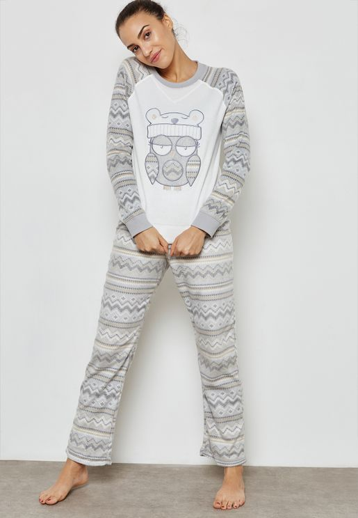 Christmas Owl Print T-Shirt & Pyjama Set