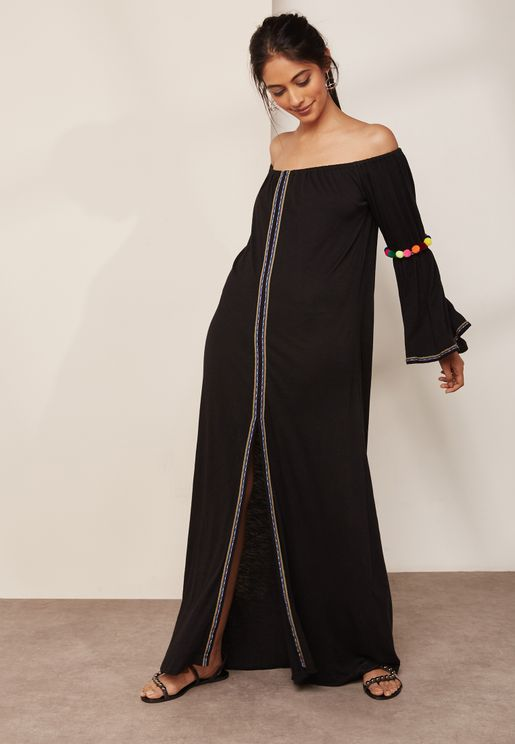 Pom Pom Flared Sleeve Bardot Maxi Beach Dress