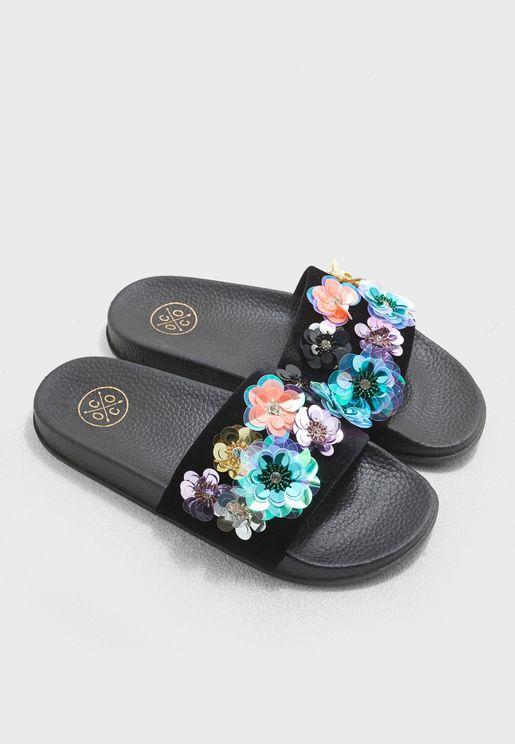 Kacee Flower Sequin Embellished Slide