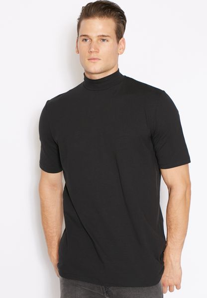 Shop adpt black high neck t shirt 80001092 for men in uae for High neck tee shirts