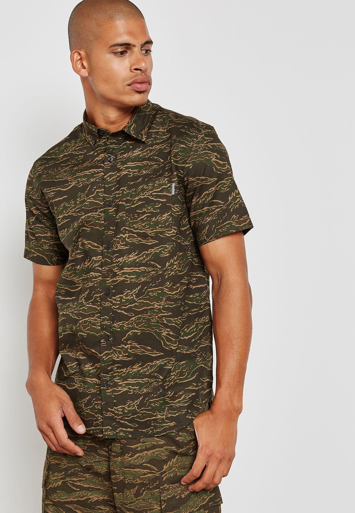 7a73bb71b061 Shop Carhartt WIP green Tiger Camo Print Shirt I022594 67600 for Men ...